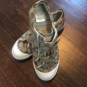 Vintage Coach Velcro Sneakers with Gold Detailing